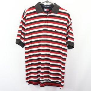 90s Tommy Hilfiger Mens Medium Striped Golf Shirt